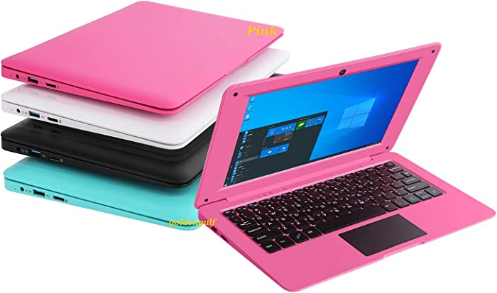 Goldengulf Windows 10 Computer Laptop Mini 10.1 Inch 32GB Ultra Thin and Light Netbook Intel Quad Core CPU PC HDMI WiFi USB Netflix YouTube (Pink)