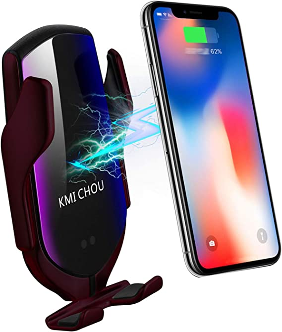 Car Phone Wireless Charger Mount Wireless Car Charger Auto-Clamping Car Phone Air Vent Holder Fast Charging for iPhone11//11Pro//11ProMax//XSMax//XS//XR//X//8//8+,Samsung S10//S9//S8//Note10//Note9 Silver