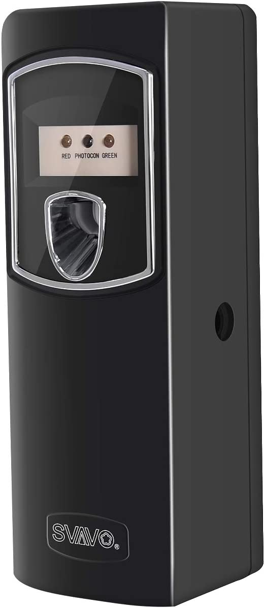 SVAVO Automatic Air Freshener Dispenser - Wall Mounted/Free Standing Auto Aerosol Spray Dispenser Programmable Fragrance Dispenser for Indoor-Bedroom, Hotel, Office, Commercial Place, Black