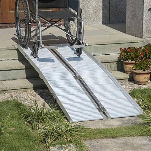 10' Portable Aluminum Threshold Great for wheelchairs Ramp, curbs, Low Stairs, porches, into Van Side Doors and More Medical Mobility Furniture Fixtures Access Ramps Mobility Portable Doorway Entry from Lek Store