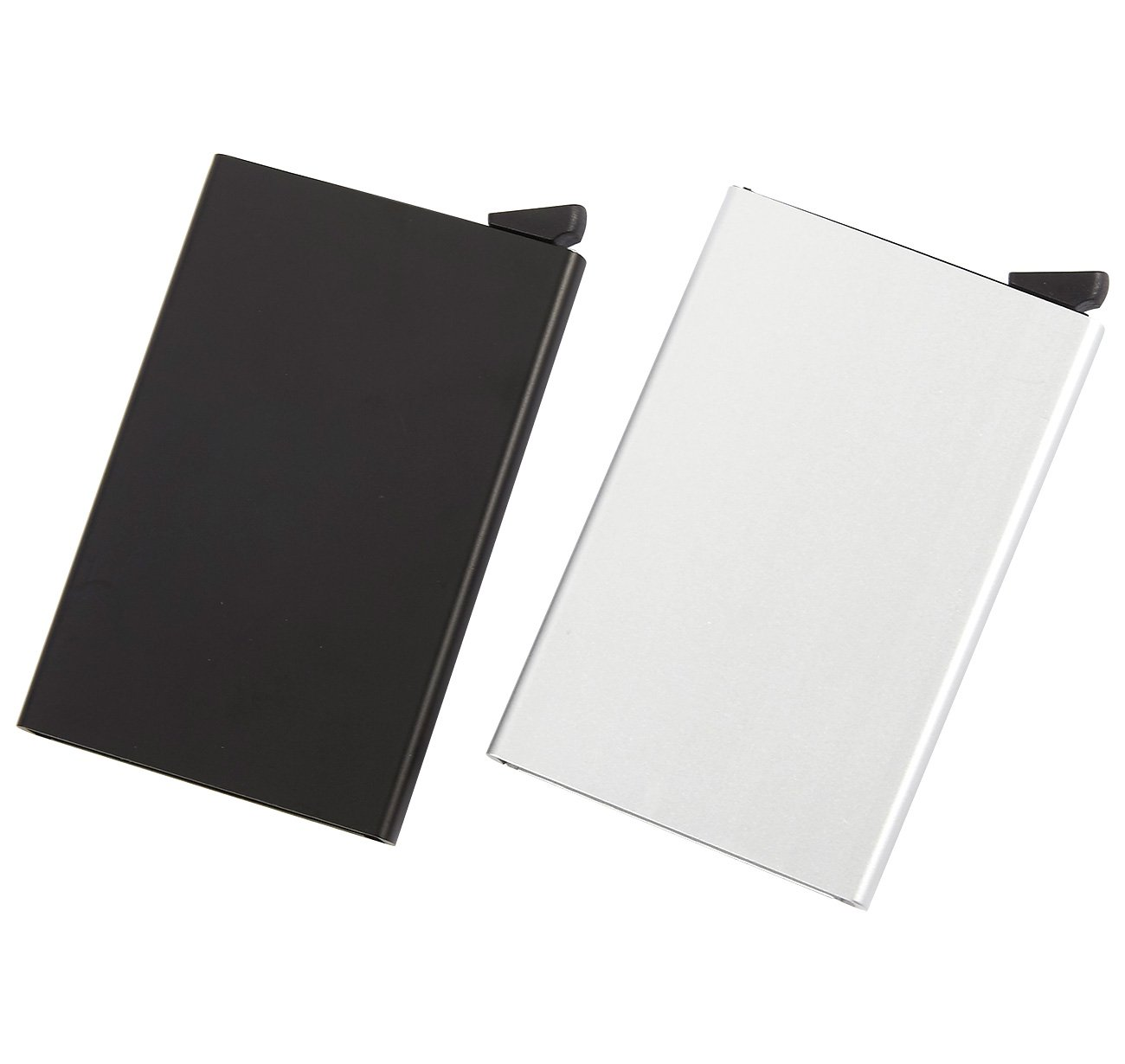 RFID Blocking Minimalist Wallet – 2 Pack Aluminum Credit Card Holder, Smart Wallet for Business Card, ID License, and Money Clipping, Black and Silver, 4 x 2.5 x 0.25 Inches