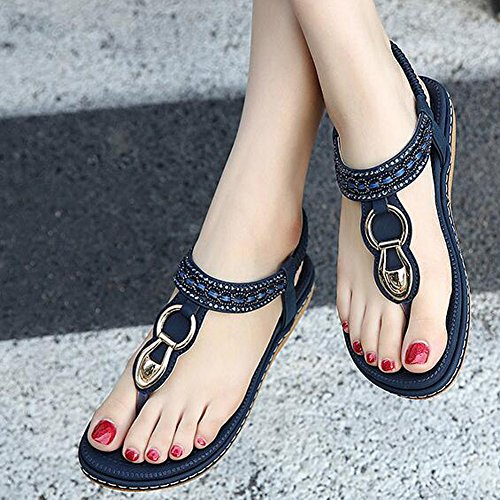 ANDAY Women's Bohemian Rhinestone Sandals Breathable Summer Beach Flip Flops Flats Shoes Dark Blue NOJK1