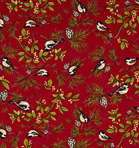 April Cornell Set of 4 Holiday Napkins Chickadee 16 X 16 100/% Cotton