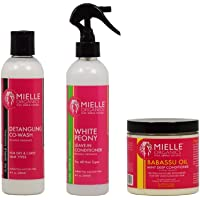 "Mielle Organics Detangling Co-Wash + White Peony Leave-In Conditioner + Babassu Oil Mint Deep Conditioner 8oz ""Set"""