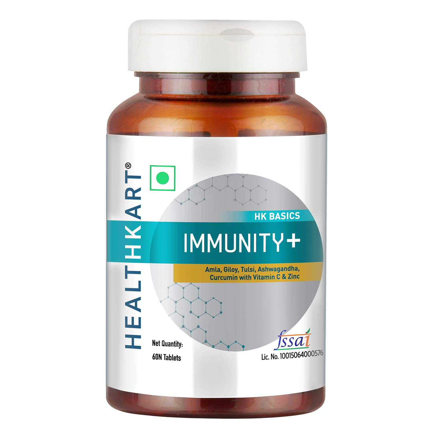 HealthKart Immunity + booster with Vitamin A,B6,C,E, D, Zinc & Immunity blend of Amla, Giloy, Tulsi, Ashwagandha extracts, 60 Tablets, Unflavoured
