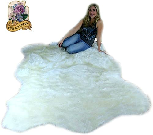 Thick White Shag Faux Fur Polar Bear Area Throw Rug Plush Premium Luxury Fur 4 x5