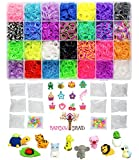 8400 Band MEGA Box Rainbow Braid Loom Refill Set - US Lab Tested Free of Toxins - 28 Colors, 12 Charms & 500 Clips - Brightest Colors Including Glitter, Tie Dye, Jelly, Glow in the Dark & Metallic