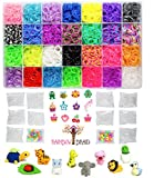 9100pc Original Rainbow Braid Premium Loom Bands MEGA Refill Kit with Case - 28 Vibrant Colors - Best for Rubber Bracelet Making Kits - 8400 Rubber Bands, 500 Clips, 100 Beads & 24 Charms w/Organizer