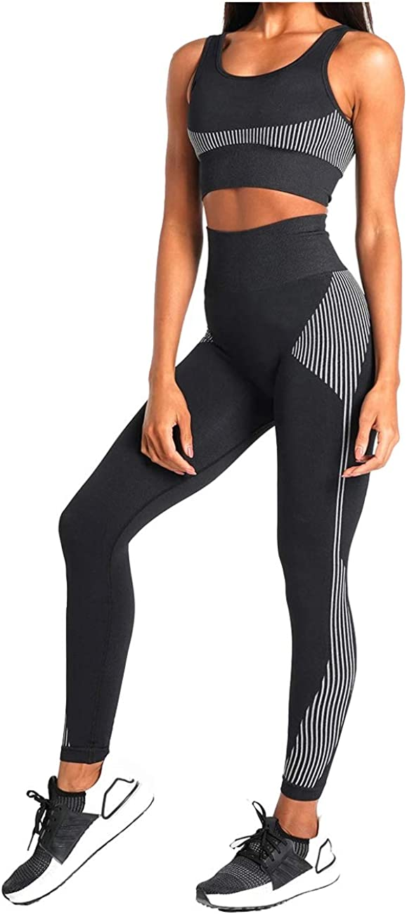 Women's Workout Sets 2 Pieces Suits High Waisted Seamless Yoga Leggings with Stretch Sports Bra Gym Cloth at  Women's Clothing store