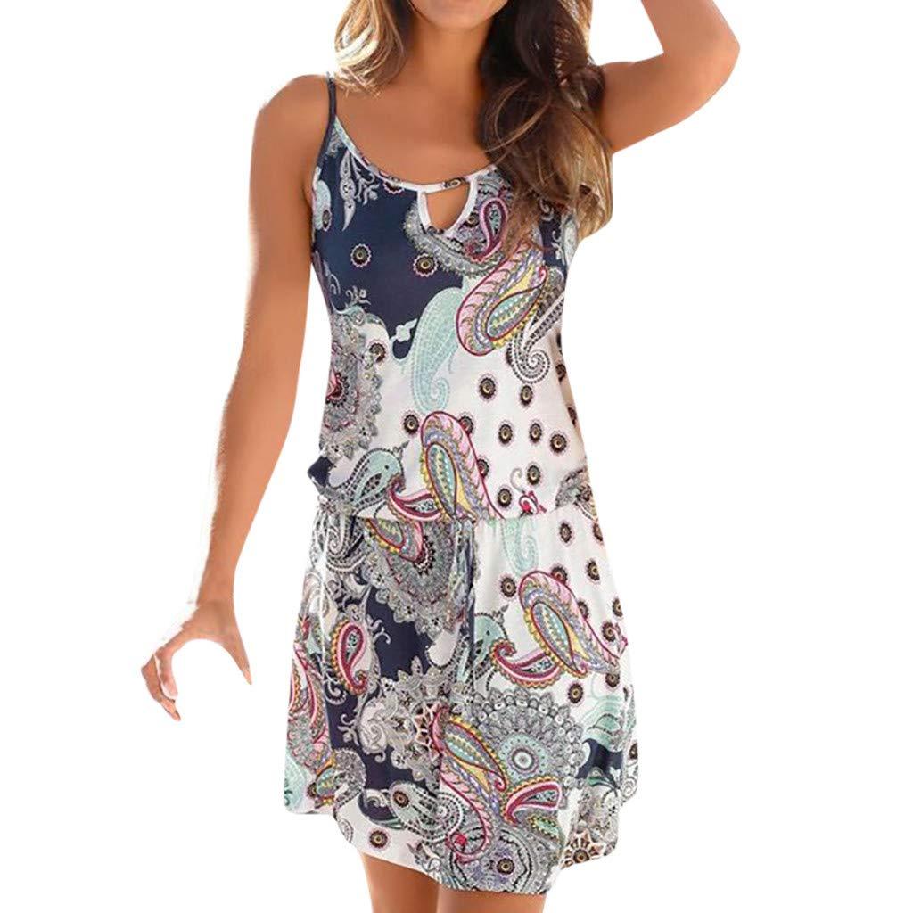 Damen Print Sling Minirock Kleid YunYoud /Ärmelloses Retro Mini Strandkleid sommer kurz strand kleid jumpsuit elegant kleid f/ür damen