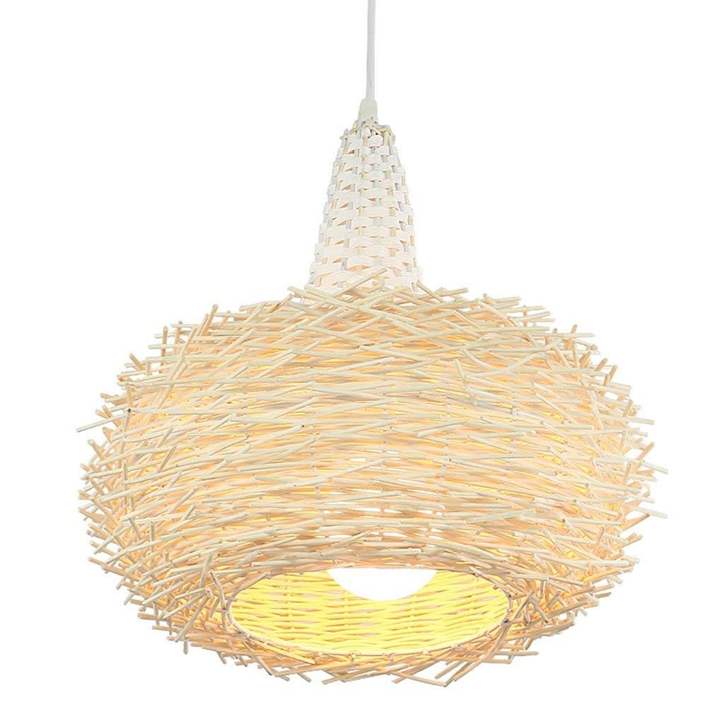 Von Hand weben Rattan Beleuchtung Kronleuchter ländlichen Wärme Woody Restaurant Lampen einem Kopf E27 Mode. Z (Farbe  1)