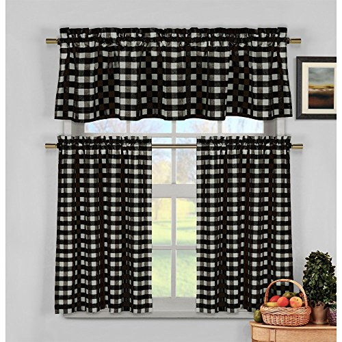 Duck River Kingston Checks 3 Piece Kitchen Curtain Set