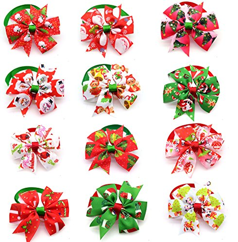 yagopet 10pcs/Pack Dog Christmas Bowtie Pinwheel Small Cat Dog Ties Xmas Puppy Dog Neckties Bow Ties Cat Dog Ties for…