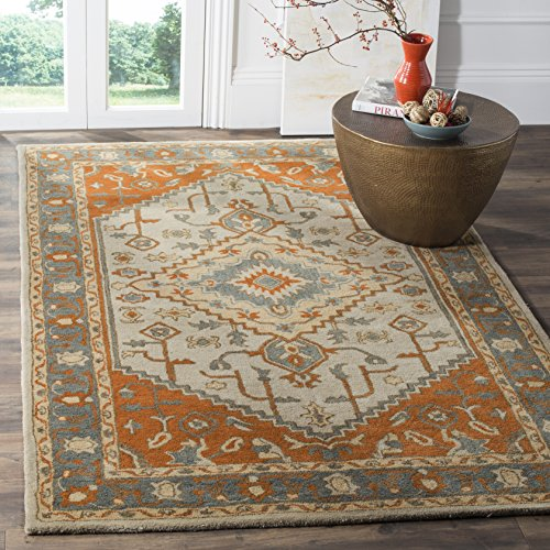 Safavieh Heritage Collection HG406A Light Blue and Rust Area Rug 6 x 9