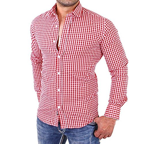 Kaiki Männer Plaid Shirts Männliche lange Ärmel Slim Fit Business Casual Beach Shirt Red