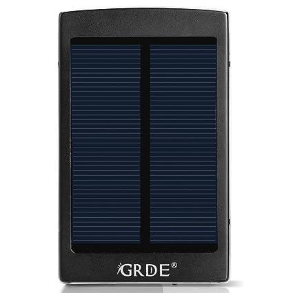 Amazon.com: GRDE 10000 mAh Cargador Solar portátil USB Dual ...