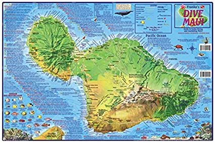 Hawaii Map Maui.Amazon Com Maui Hawaii Dive Snorkeling Guide Map Laminated