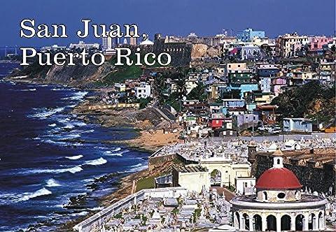 San Juan, Puerto Rico, Beach, Skyline, Souvenir Magnet 2 x 3 Photo Fridge Magnet - Puerto Rico Kitchen