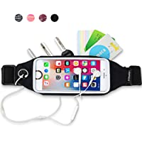 Running Belt, Exercise Fanny Pack For iPhone 6/7/8 Plus, iPod, Samsung and other Smart Phones- Bounce Free Reflective Workout Waist Bag for Hiking Running Fitness- Sports Pouch for Men/Women