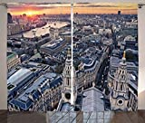dark grey curtains uk Ambesonne London Decor Curtains, Aerial View of Famous Town with Historical British Architecture UK Scenery, Living Room Bedroom Window Drapes 2 Panel Set, 108W X 84L inches, Orange Grey
