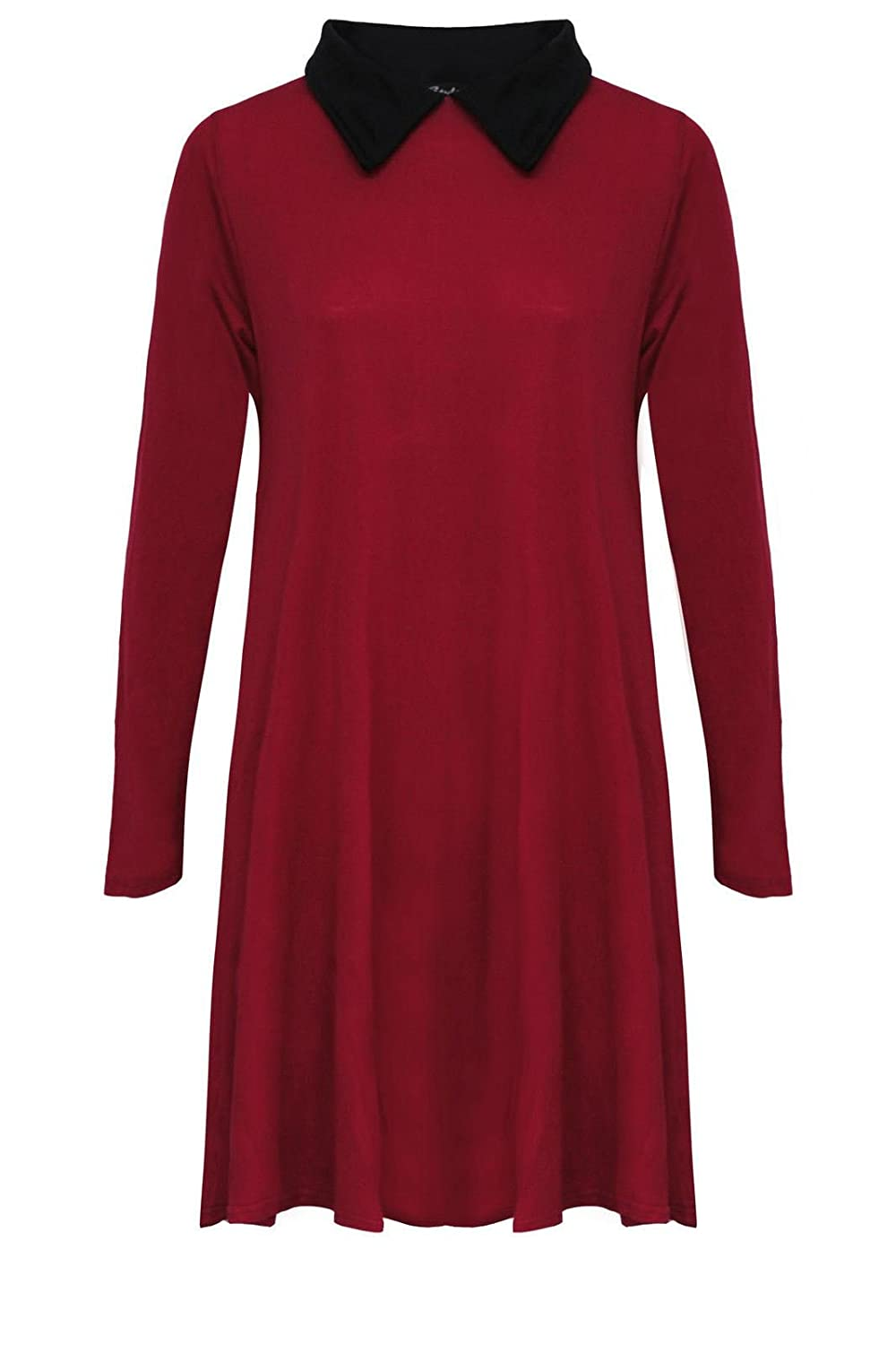 Riddled With Style ® New Womens Long Sleeve Plus Size Peter pan Collar Swing Dress. UK 8-26 FASHION FAIRIES