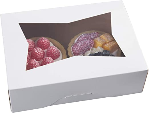 Cakes Pastries Ruisita 15 Pack Pie Boxes Bakery Boxes with Window Kraft Cookie Boxes Auto-popup Treat Boxes Cookie Gift Boxes Rectangular 12 x 8 x 2.5 Inch for Pies Donuts and Muffins
