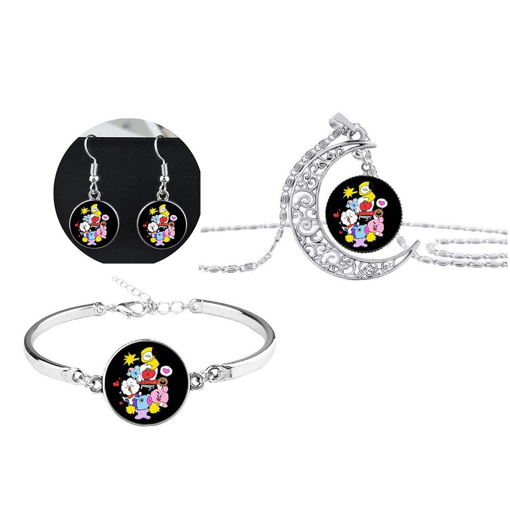 BT21 Tata Necklace /& Bracelet /& Earrings BTS Cartoon Jewelry Set for Girls Kids Party Favors and A.R.M.Y