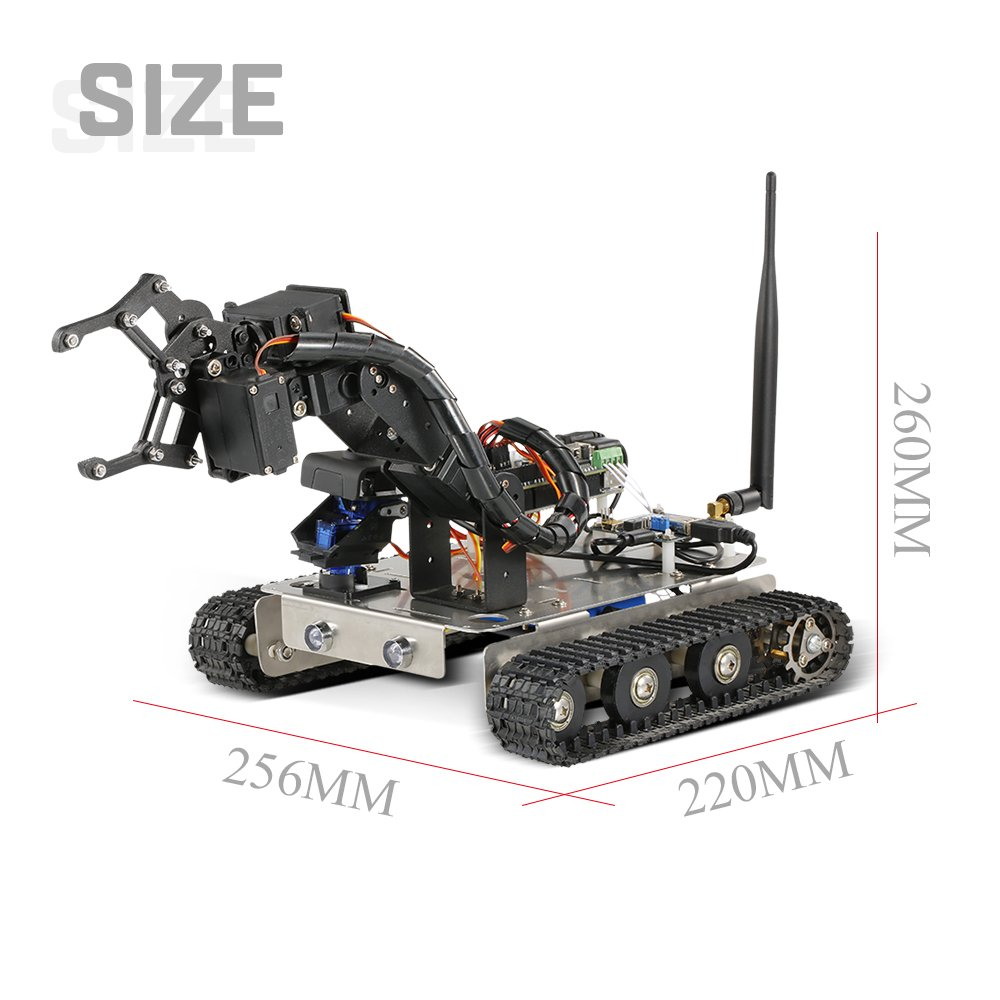 Goolsky GFS Robot Wifi Smart DIY Crawler RC Robot Tank with Manipulator 480P Camera PC Mobile Phone Control Education Tool by Goolsky (Image #5)