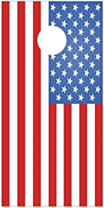 Lets Print Big Aged American Flag Boat Lake Fishing Design B Corn Hole Board Decal Wraps