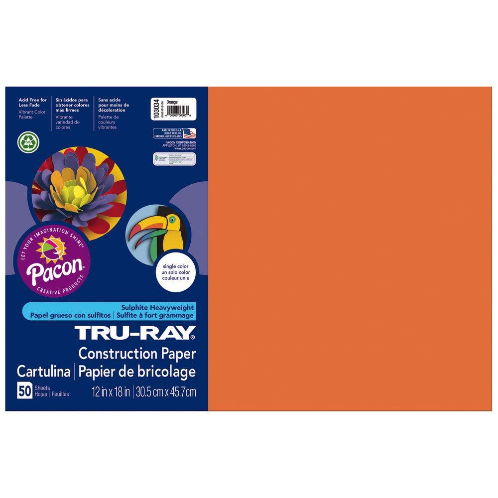 12 x 18 Orange Tru-Ray Heavyweight Construction Paper 50 Sheets