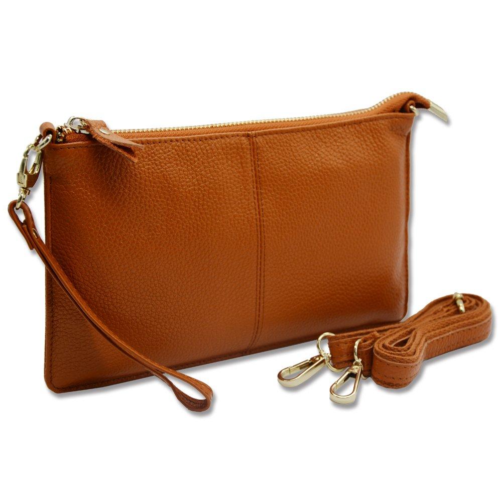 Befen Women's Soft-Feel Genuine Leather Smartphone Leather Wristlet Crossbody Wallet Clutch Purse with Crossbody strap/Wrist Strap-for Smartphone up to 5.5 Inch-Black