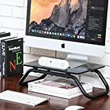 Fitueyes Tempered Glass Computer Monitor Riser Printer Stand 5.2'' High 19.2' Save Space Desktop Stand for Xbox One/Component/Flat Screen TV DT103801GT