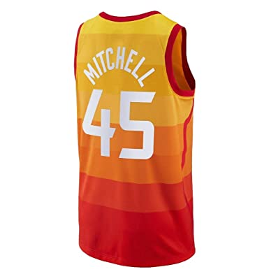 11bb52f7c39 Image Unavailable. Image not available for. Color  OuyeCHs Men s Utah  45  Donovan Mitchell Orange Jersey Basketball ...
