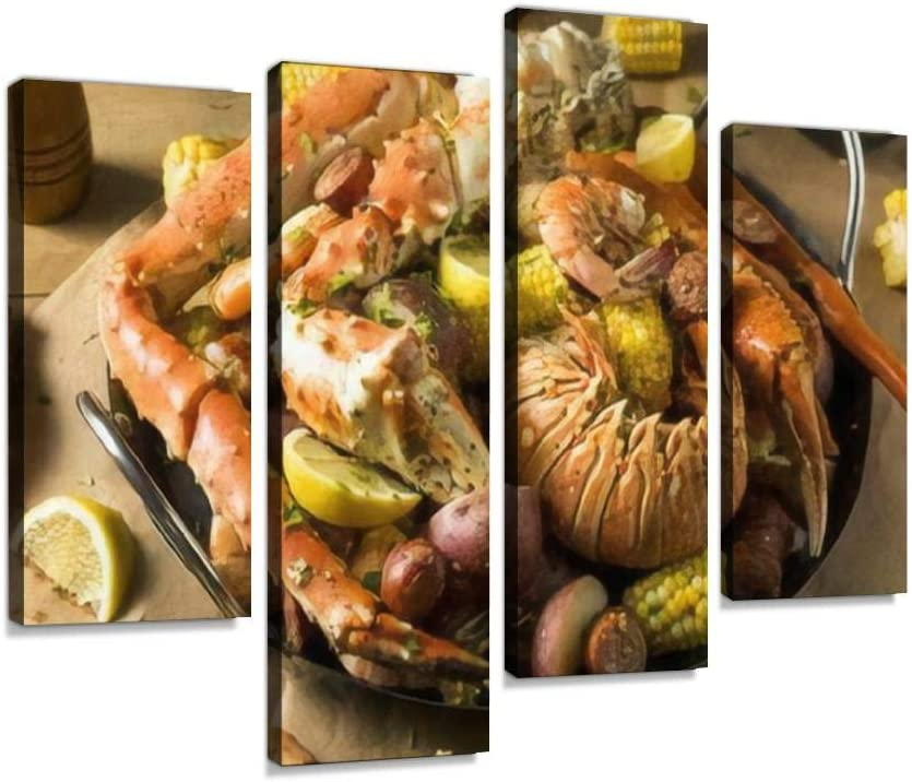 IGOONE 4 Panels Canvas Paintings - Homemade Cajun Seafood Boil with Lobster Crab and Shrimp Stock Photo - Wall Art Modern Posters Framed Ready to Hang for Home Wall Decor