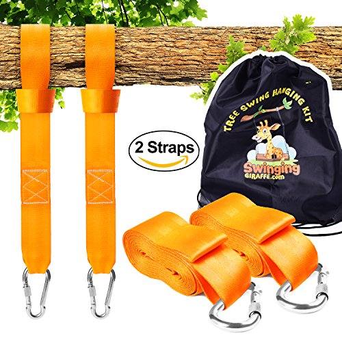 Bar Kit Tie (Tree swing hanging kit - Extra long straps (10 ft) . Extra STRONG (3900lb). Perfect for hammocks, tree swing sets, disk swings and better than swing ropes.)