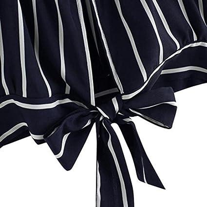 Mujeres Tops Rovinci Verano Atar Cuello en V A Rayas Cultivo Arco Cami Parte Superior Camisola Blusa Mujer Sexy Camisetas: Amazon.es: Ropa y accesorios