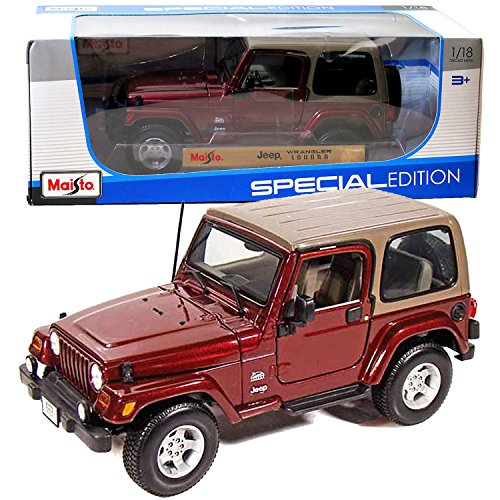 Jeep Wrangler Dimensions - Maisto Year 2014 Special Edition Series 1:18 Scale Die Cast Car Set - Maroon Color Sports Utility Vehicle JEEP WRANGLER SAHARA (SUV Dimension: 8