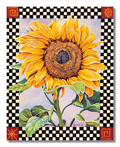 Checkerboard Sunflower Country Folk Kitchen Wall Picture