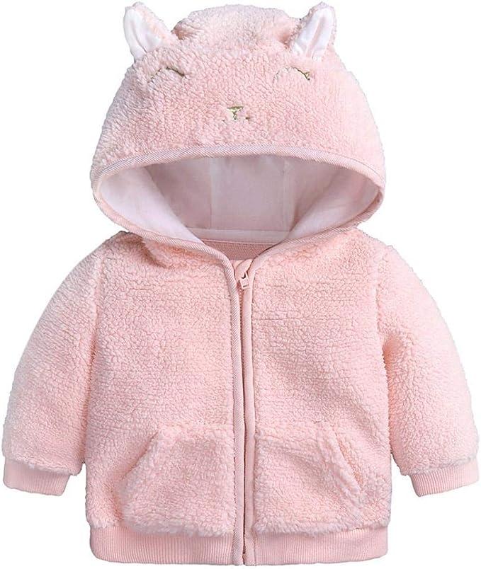 Baby Mädchen Strickjacke Fleece Kapuzenjacke Warm Mantel Jacke Wintermantel