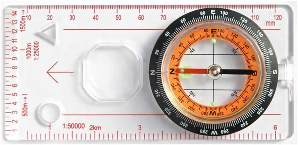 Magnifying Compass Scout Hiking Camping Boating Map Reading Orienteering UV