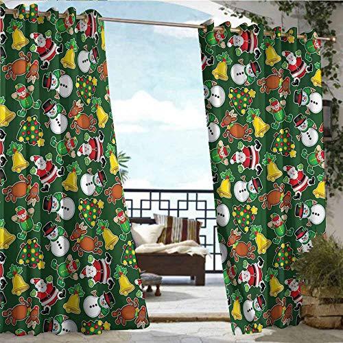 Qenuan Custom Outdoor Curtain,Christmas,Vivid Icons of Joyous Holiday Celebration Jumping Dancing Cheery Cartoon for Yule,Multicolor,Waterproof Patio Door Panel63 x72 inch