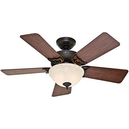 Hunter Indoor Ceiling Fan with light and pull chain control – Kensington 42 inch, Nobel Bronze, 51014