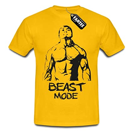 4f0a9a6e Amazon.com : FABTEE - Beast Mode - Fitness & Gym, Man T-Shirt, Size S-4XL,  Size:3XL;color:Gelb : Sports & Outdoors