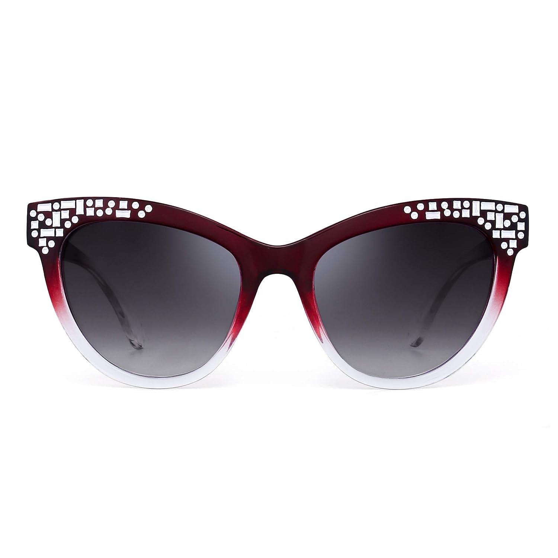 Lunettes de Soleil à Oeil de Chat de Luxe Embelli Gradient Designer Shades  Femmes UV400 P043 22186b599a2