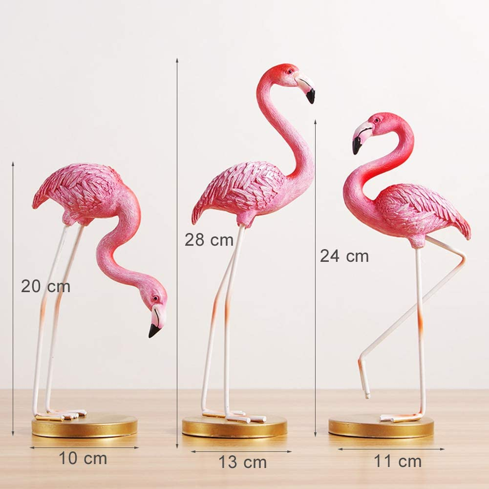 Pink Flamingo Birds Statue Ornament Figurine Figure for Girls Room Decor