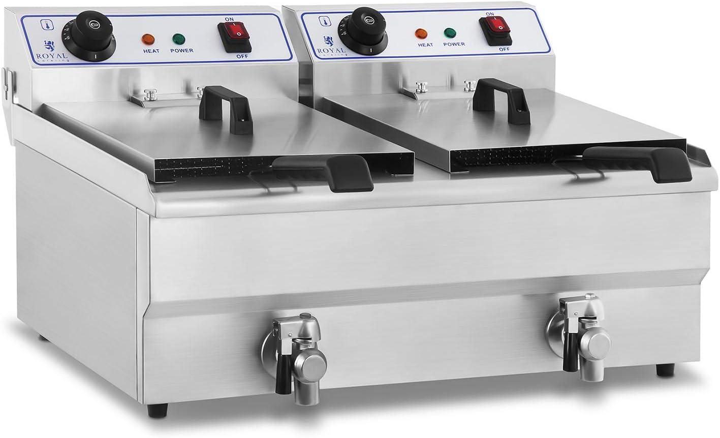 Royal Catering Freidora Eléctrica Doble Para Hostelería RCEF-16DH (Potencia: 2 x 3.500 Watt, Capacidad: 2 x 16 Litros, Con Grifo De Vaciado, 230 V)