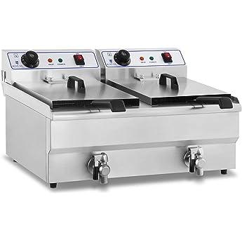 Royal Catering Freidora Eléctrica Doble Para Hostelería RCEF-16DH (Potencia: 2 x 3.500 Watt, Capacidad: 2 x 16 Litros, Con Grifo De Vaciado, 230 V): Amazon.es: Hogar