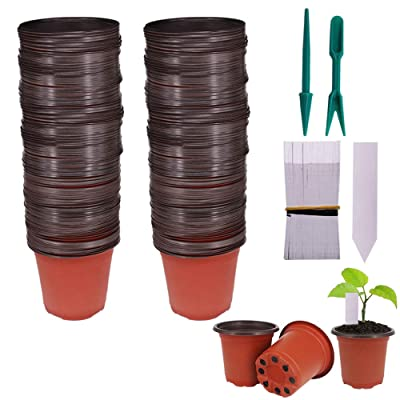 "Huvai 100 Pcs 4"" Plastic Seedlings Plants Nursery Pots with 100 Pcs Waterproof Plastic Plant Tags and 2Pcs/Set Transplanting Digging Mini Tools : Garden & Outdoor"