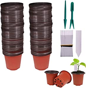 "Huvai 100 Pcs 4"" Plastic Seedlings Plants Nursery Pots with 100 Pcs Waterproof Plastic Plant Tags and 2Pcs/Set Transplanting Digging Mini Tools"