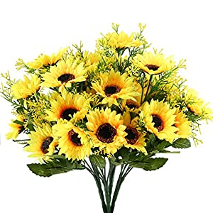 NAHUAA 4PCS Artificial Sunflowers Bundles Fake Silk Flowers Bouquets Fuax Floral Table Centerpieces Arrangements Decor Wedding Home Kitchen Office Windowsill Spring Decorations 4